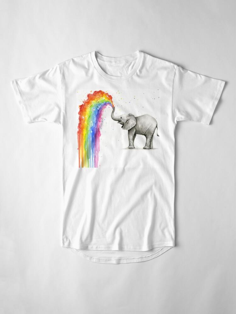 Alternative Ansicht von Baby-Elefant-Sprühregenbogen Longshirt