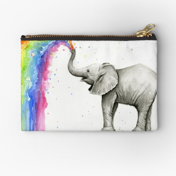 Baby Elephant Spraying Rainbow Zipper Pouch