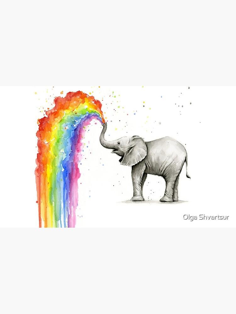 Baby-Elefant-Sprühregenbogen von olga-shvartsur