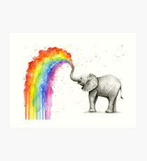 Baby Elephant Spraying Rainbow Art Print