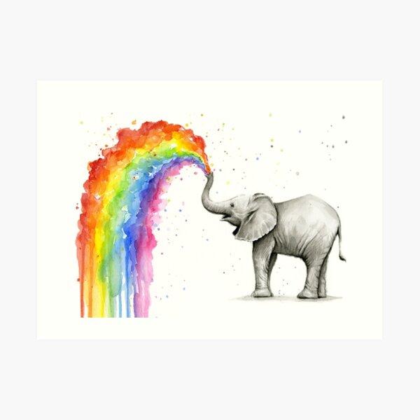 Baby Elephant Spraying Rainbow Art Print