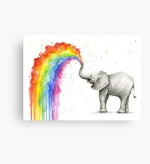 Baby Elephant Spraying Rainbow Metal Print