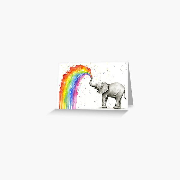 Baby Elephant Spraying Rainbow Greeting Card