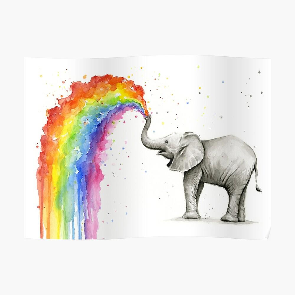 Baby-Elefant-Sprühregenbogen Poster