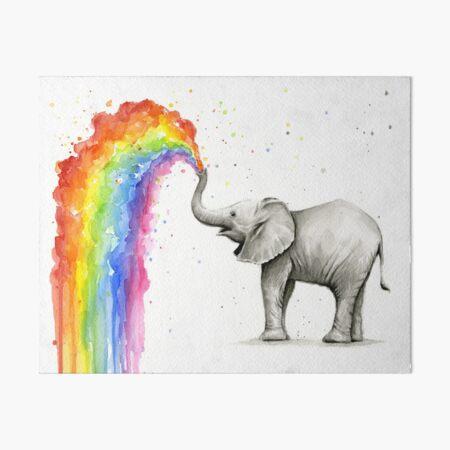 Baby Elephant Spraying Rainbow Art Board Print