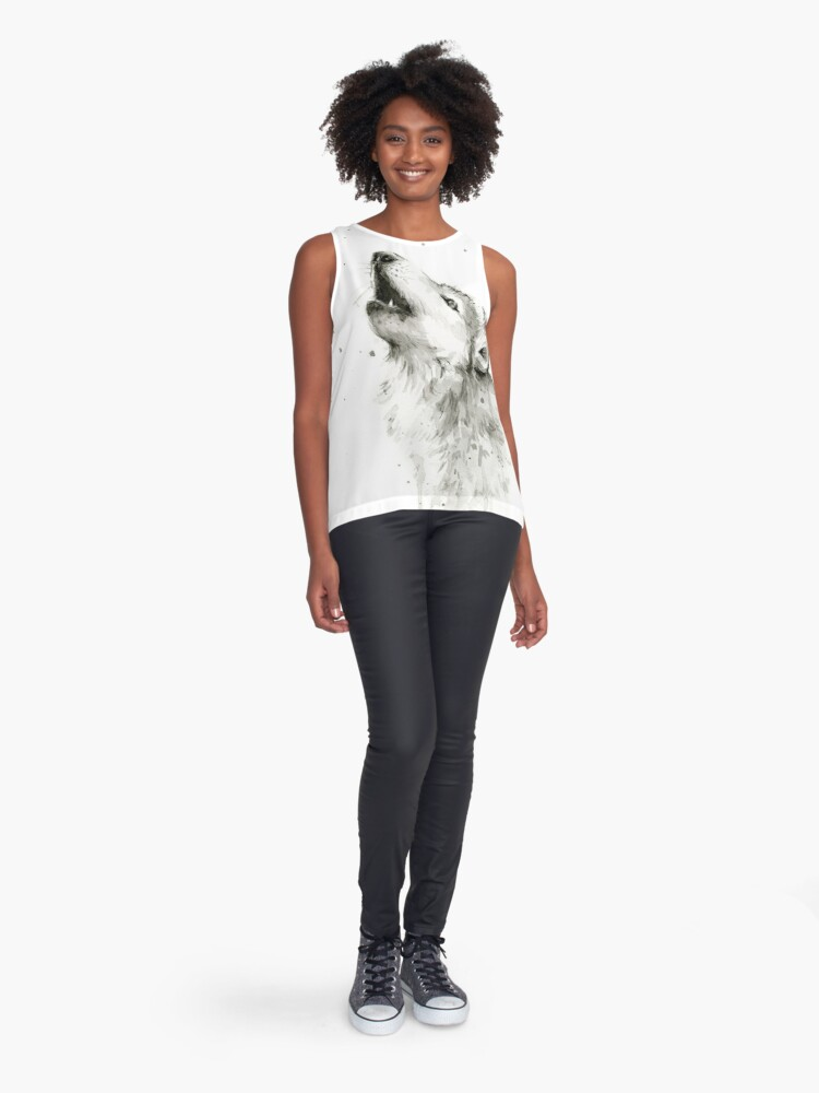 Alternate view of Wolf Howling Watercolor Sleeveless Top