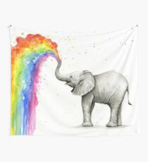 Baby-Elefant-Sprühregenbogen Wandbehang