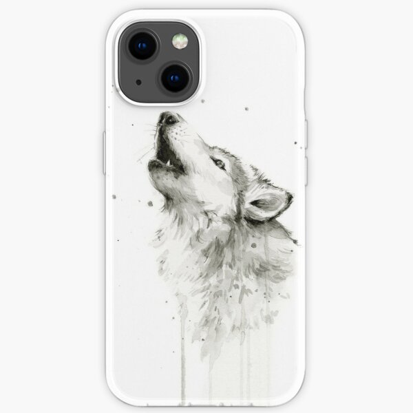 Wolf Howling Watercolor iPhone Soft Case