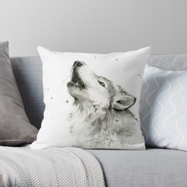 Wolf Howling Watercolor Throw Pillow