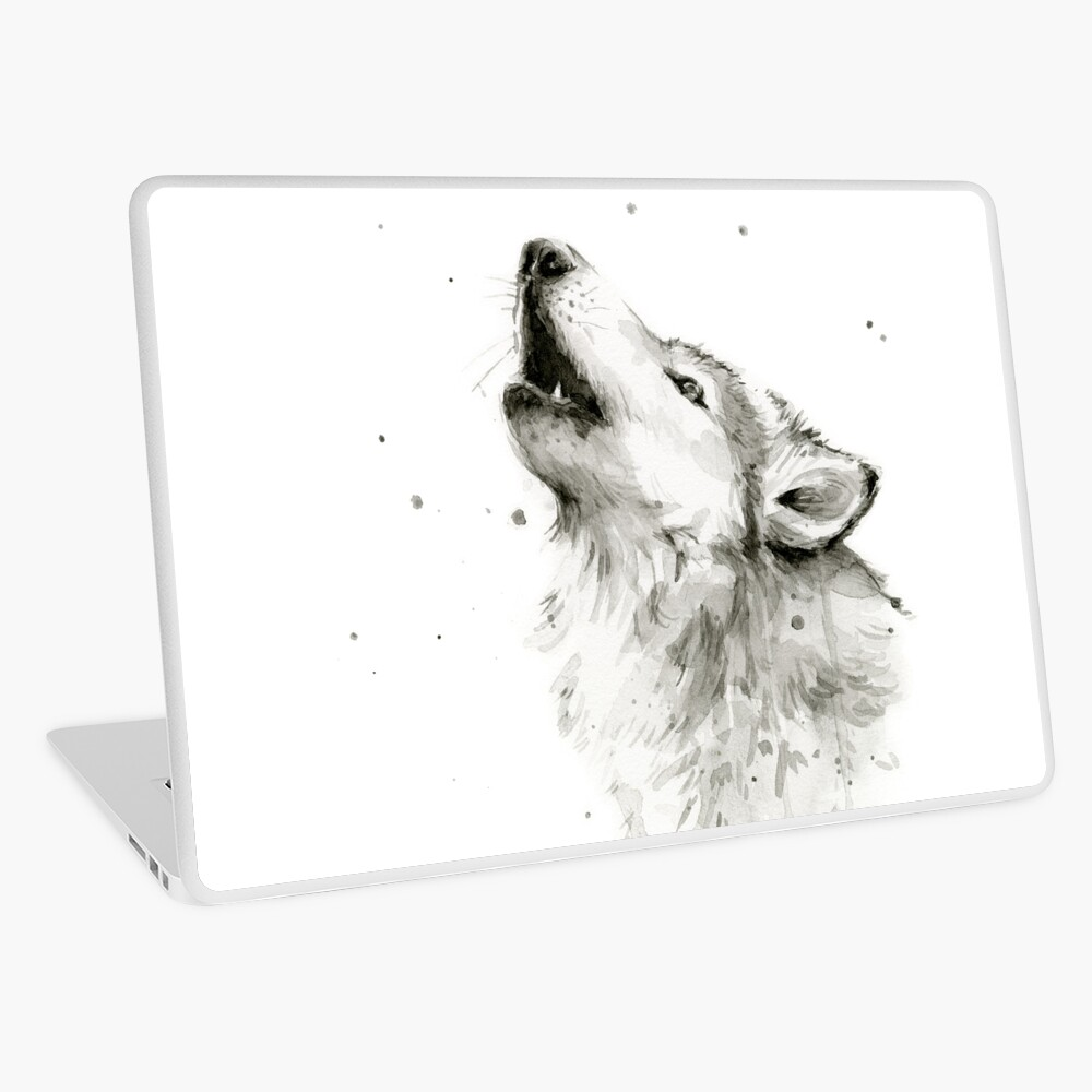 Wolf Howling Watercolor Laptop Skin