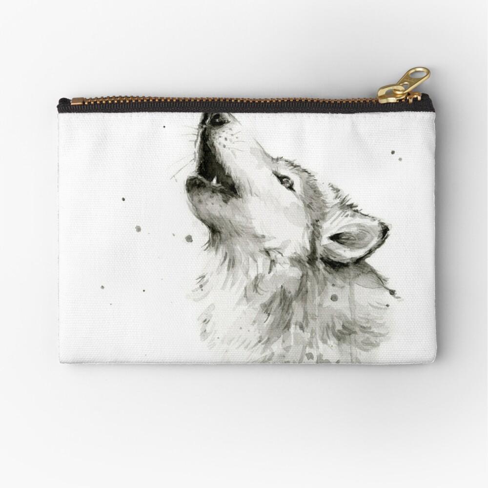Wolf Howling Watercolor Zipper Pouch