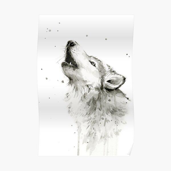 Wolf hurlant aquarelle Poster