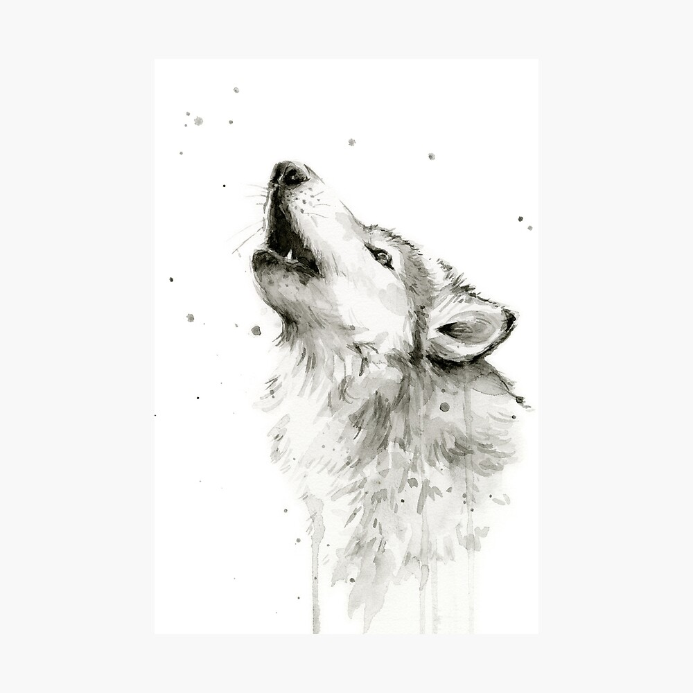 Wolf Howling Watercolor Photographic Print