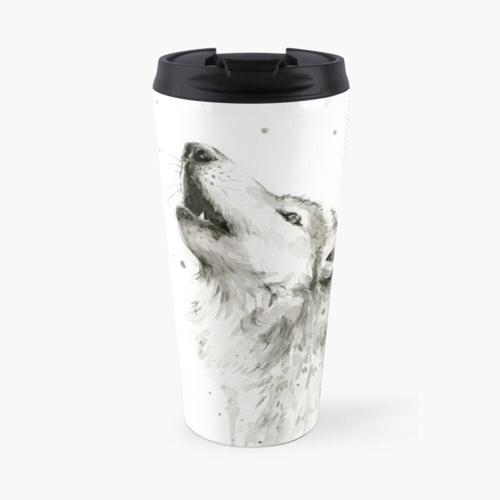 Wolf Howling Watercolor Travel Mug