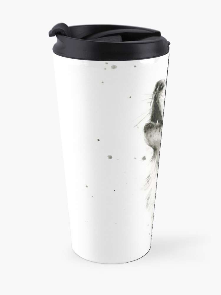 Alternate view of Wolf Howling Watercolor Travel Mug