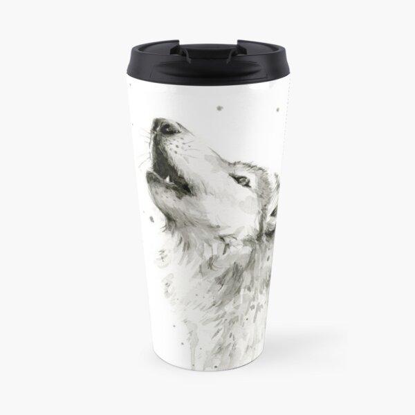 Wolf Howling Watercolor Travel Mug