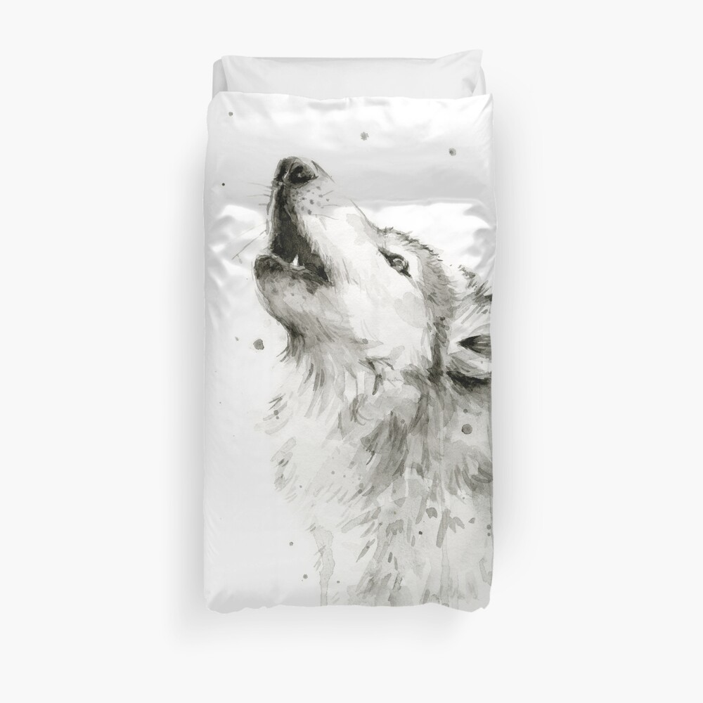 Wolf Howling Watercolor Duvet Cover
