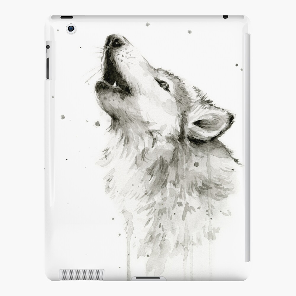 Wolf Howling Watercolor iPad Case & Skin