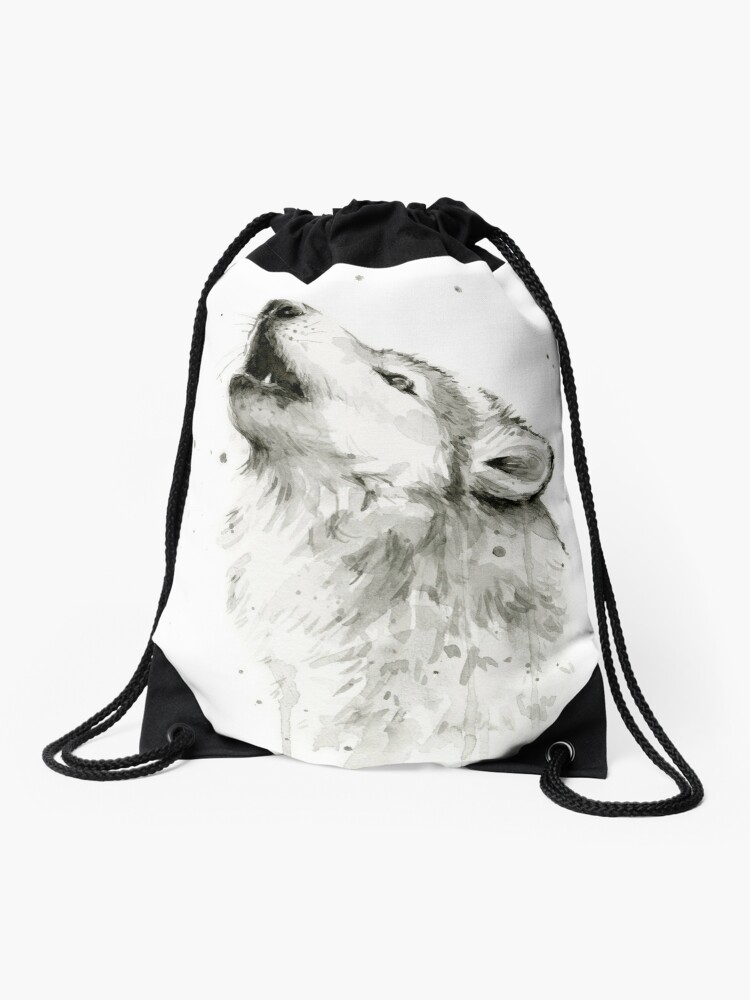 Drawstring Backpack Howling Baby Wolf Bags