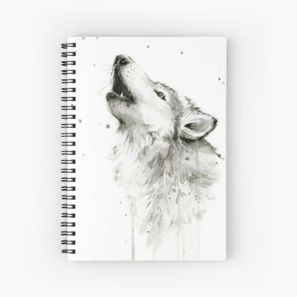 Wolf Howling Watercolor Spiral Notebook