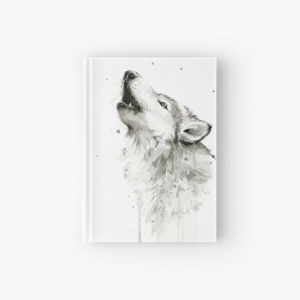 Wolf Howling Watercolor Hardcover Journal