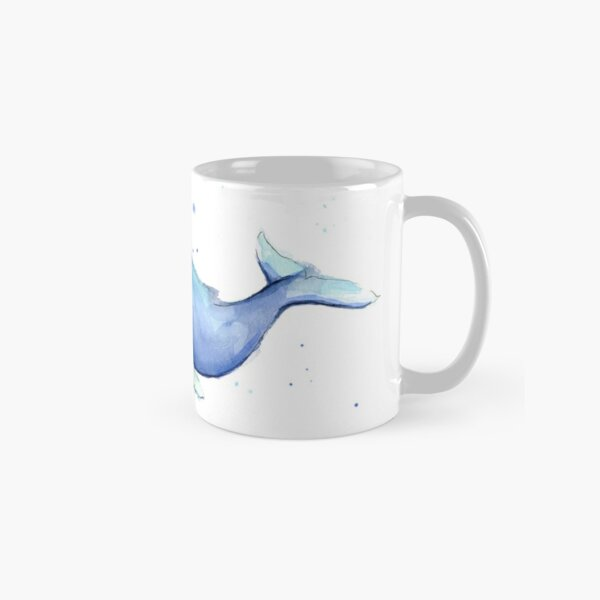 Humpback Whale Blue Watercolor Painting Classic Mug