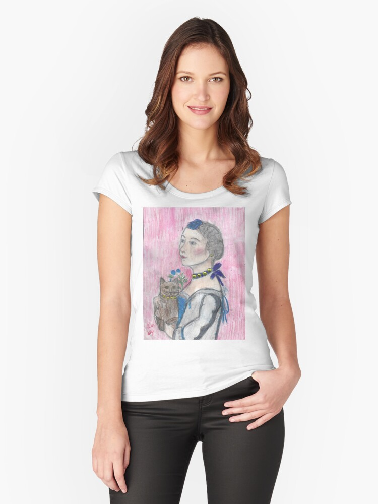 Madame Avec Une Chat. Women's Fitted Scoop T-Shirt Front