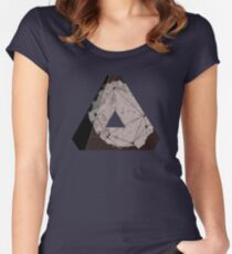 Abstract Geometry: Metallic City (Brown/Gold) Women's Fitted Scoop T-Shirt