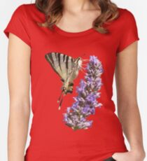 Side View Of Scarce Swallowtail Butterfly Feeding On Lilac Women's Fitted Scoop T-Shirt