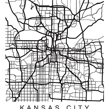 Kansas City Minimalist City Street Map Dark Design by Andrewkgolf