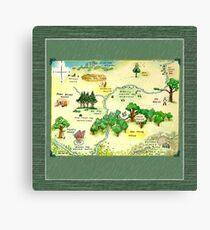 Winnie The Pooh 100 Aker Wood Map Canvas Print