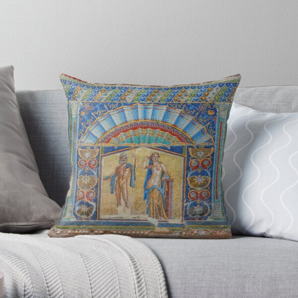 Painting on the Wall of a Ancient Roman House in Herculaneum, Italy Throw Pillow