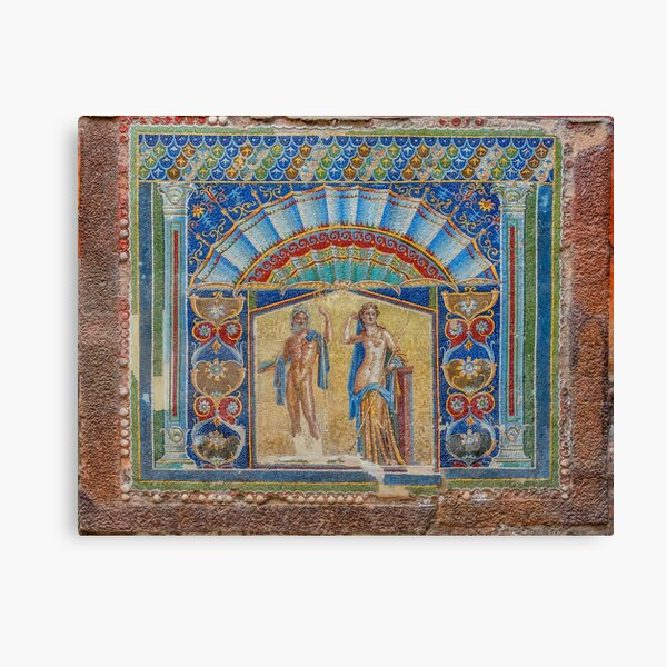 Painting on the Wall of a Ancient Roman House in Herculaneum, Italy Canvas Print