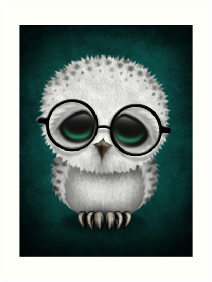 Quot Cute Baby Snowy Owl Wearing Glasses On Teal Blue Quot Art