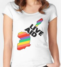 Live Aid Band Aid 1985 Symbol Women's Fitted Scoop T-Shirt