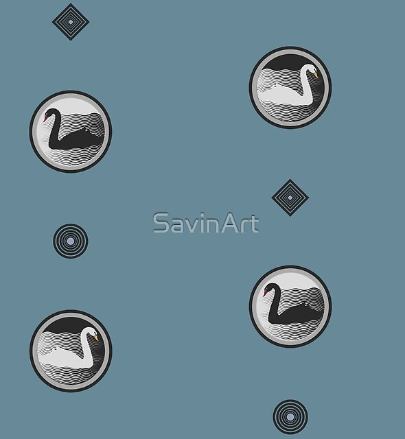 Swan pattern in blue by SavinArt