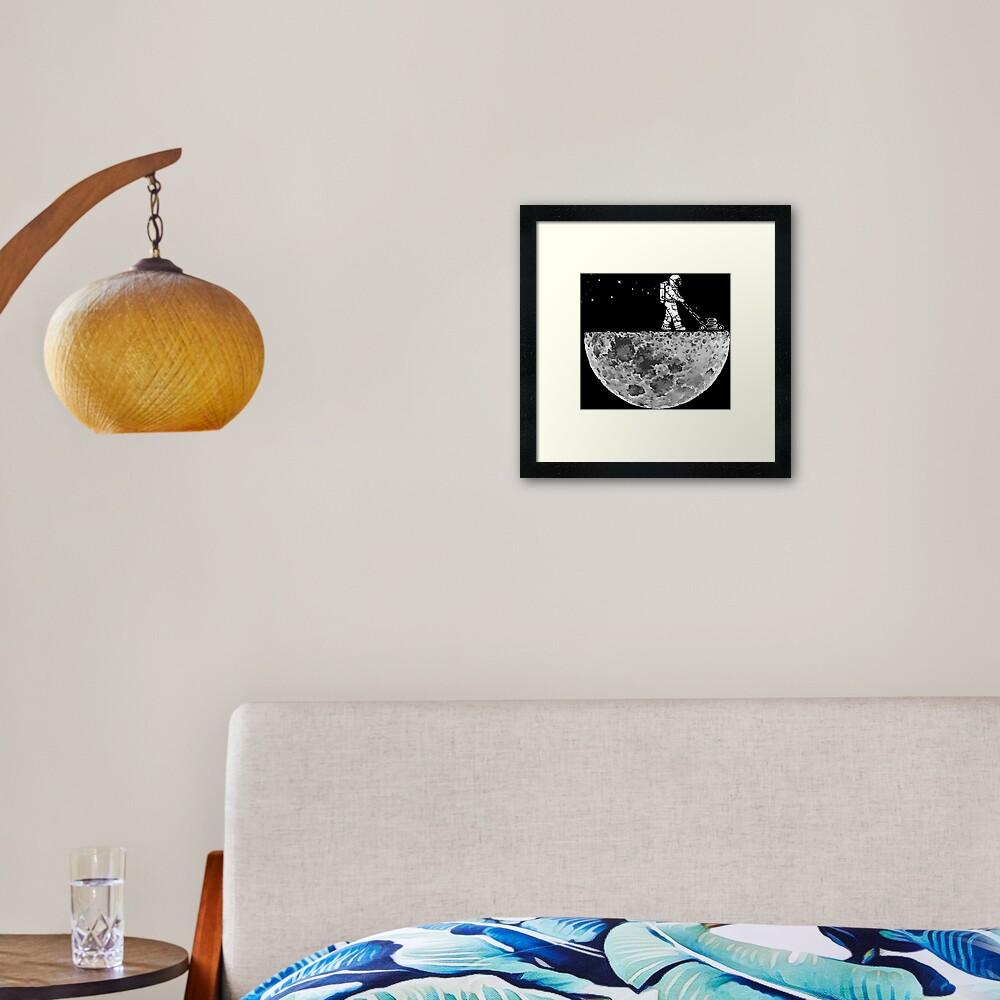 Astronaut Mowing The Moon Framed Art Print