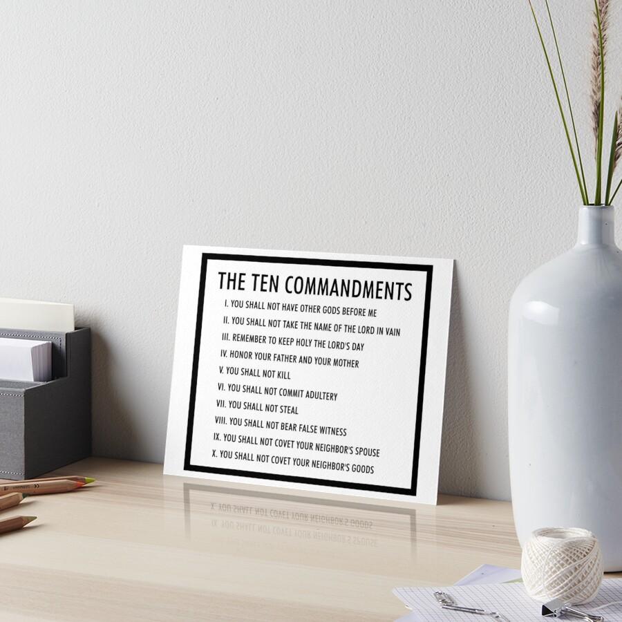 the ten commandments Art Board Print