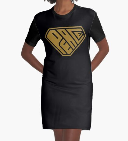 Peace SuperEmpowered (Gold) Graphic T-Shirt Dress