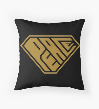 Peace SuperEmpowered (Gold) Throw Pillow