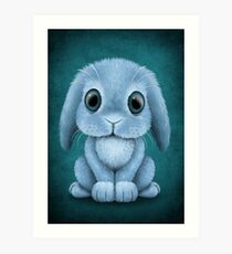 Cute Blue Baby Bunny Rabbit  Art Print