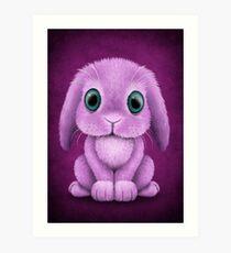 Cute Purple Baby Bunny Rabbit  Art Print