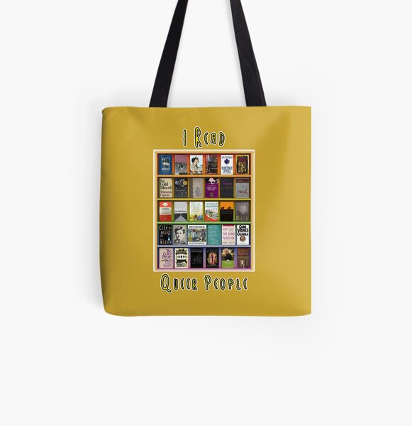 I Read Queer People All Over Print Tote Bag