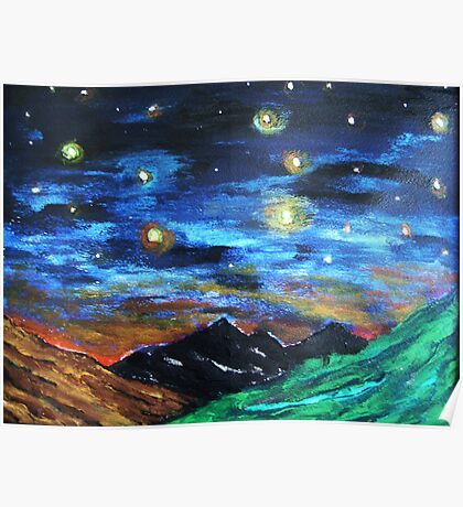 Mountain Starry Night Poster