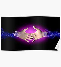 Electric handshake Poster