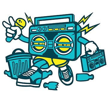 Cute Kid Old School Boombox Radio Rapper DJ Music T-Shirt by culturesociety