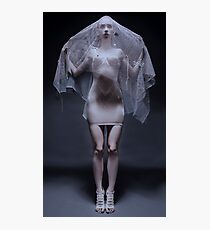 Atmospheric image of a veiled woman on black background  Photographic Print