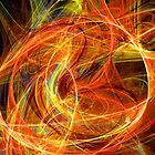 CRAZY PHOTON Vibrant Yellow Orange Brown  Fractal Swirls by BulganLumini
