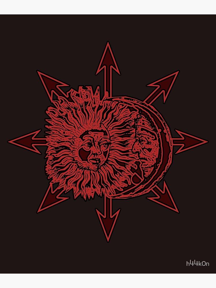 Sun Moon Chaos Star Lucifer Dark Alchemy Occult   Poster