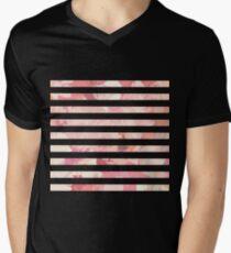 Modern vintage pink coral watercolor stripes Mens V-Neck T-Shirt